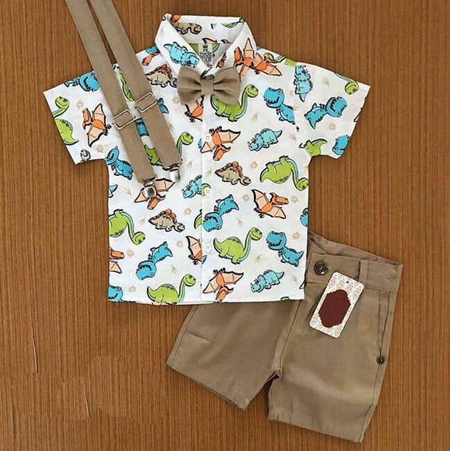 เด็กใหม่ชุดเด็กวัยหัดเดินเด็กการ์ตูนพิมพ์ฝ้าย T เสื้อสั้นสั้นกางเกงชุดแฟชั่น 2019
