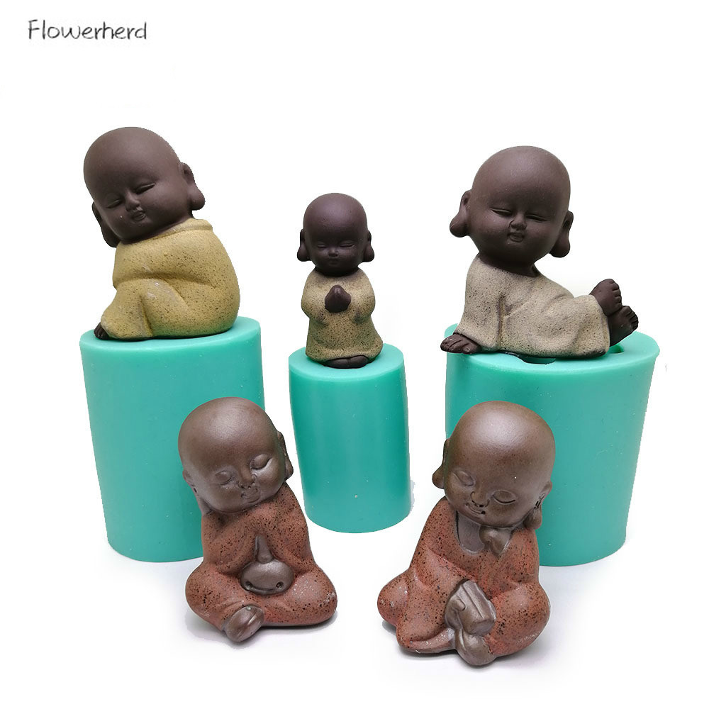3D Silicone Mold for Candle Making Little Monk Candle Mold Plaster Mold Resin Craft Mold DIY Buddha Statue Baking Decoration