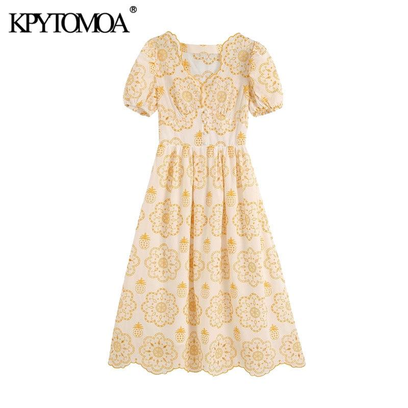 KPYTOMOA Women 2020 Chic Fashion Cutwork Embroidery Midi Dress Vintage Puff Sleeves With Lining Female Dresses Vestidos Mujer