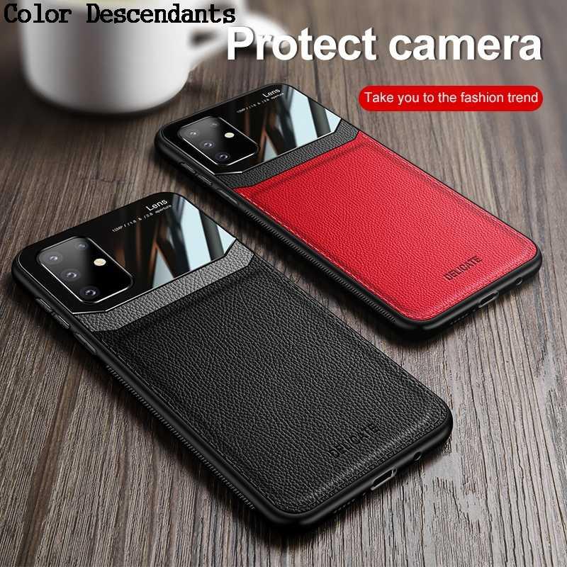 Coque arrière en cuir effet miroir pour Samsung, compatible modèles Galaxy S8, S9, S10 Plus, S10E, Note 8, 9, 10 Pro