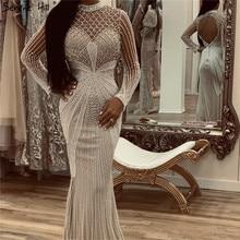 Dubai Luxury White Nude Mermaid Evening Dresses 2020 Long Sleeves Diamond Beading Formal Dress Serene Hill LA70274