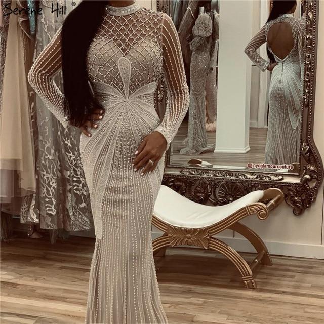 Dubaj luksusowe białe Nude Mermaid suknie wieczorowe 2020 długie rękawy diament frezowanie formalna sukienka Serene Hill LA70274