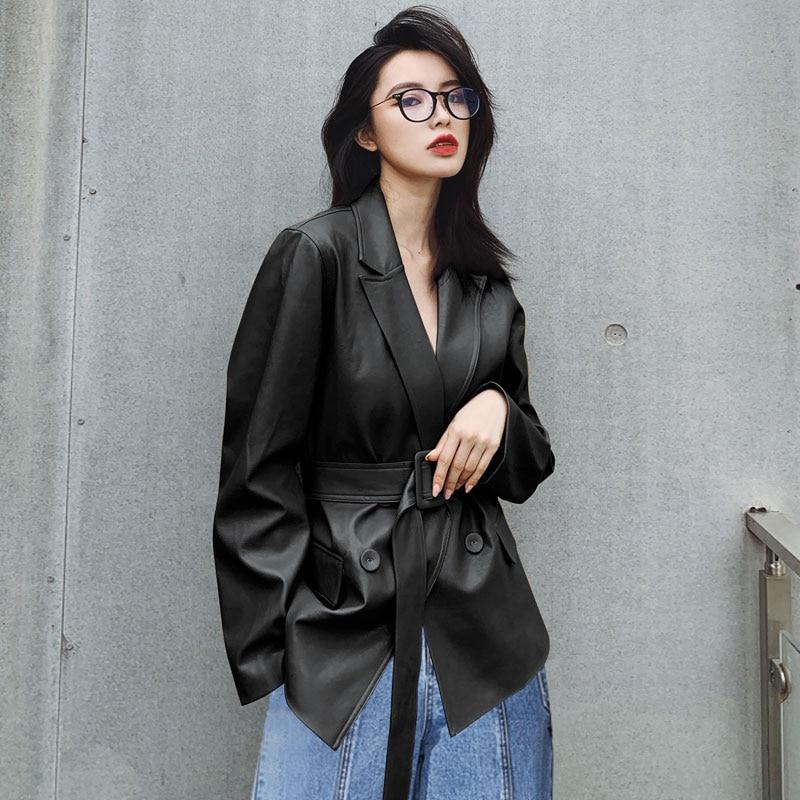 [EAM] Loose Fit Khaki Pu Lether Big Size Bandage Jacket New Lapel Long Sleeve Women Coat Fashion Tide Spring Autumn 2020 3