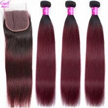Ariel ombre cabelo tecer 3 pacotes com fecho 1b/99j borgonha vinho vermelho dois tons ombre indiano não remy em linha reta feixes de cabelo humano