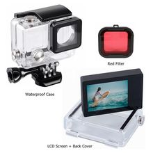 Accessories For GoPro 4 3+LCD BacPac External Viewin Display Screen+Waterproof Case Housing Cover For Go Pro Hero 4 3+ Mount
