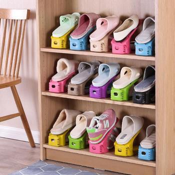 Dwuwarstwowy regulowany prosty na buty uchwyt szafka na buty stojak do przechowywania kurzu buty do domu organizator Home Save Space Range półka na buty tanie i dobre opinie Aihogard CN (pochodzenie) Uchwyt na buty Z tworzywa sztucznego Double Shoe Rack Organizer Double Storage Shoe Rack Adjustable Shoe Organizer