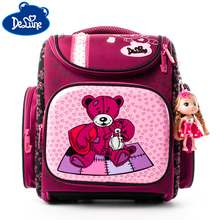 Delune School Bags Bacpack For Boys Kids Girls Pattern Cartoon Backpack Children Orthopedic Backpacks Primary delune 1 5 grade kids cartoon bear primary schoolbag girls high quality eva 3d orthopedic backpack children school bags for boys