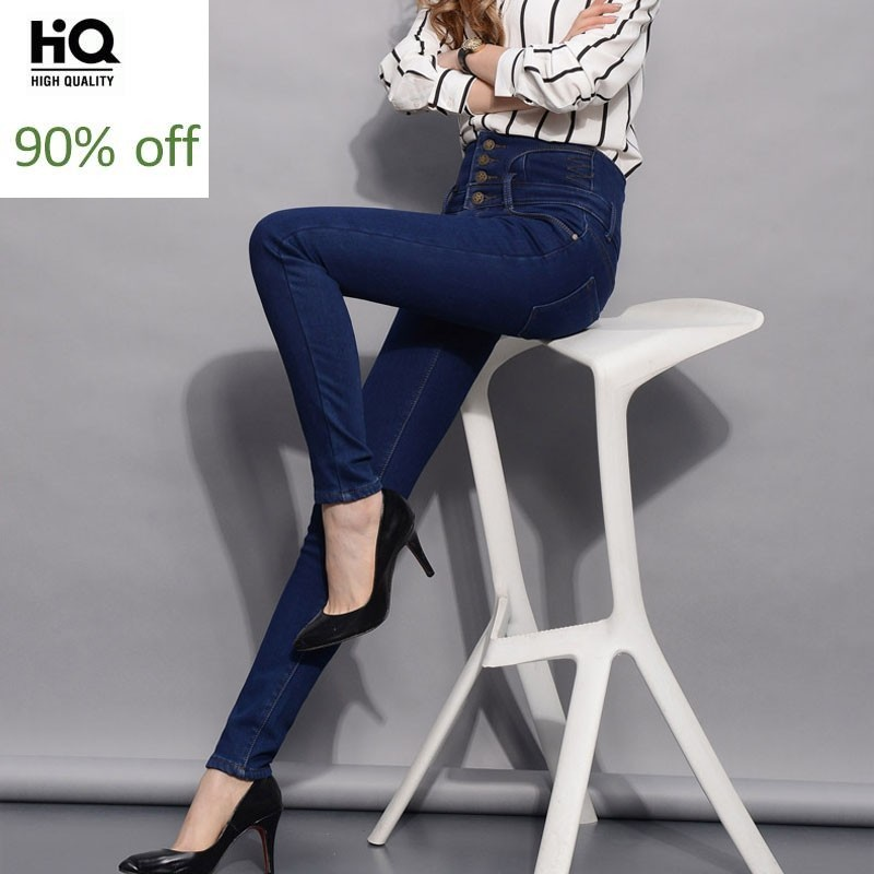 Big Size Fashion Denim Pencil Pants High Zipper Waist Warm Jeans Female Stretch Pants Single Breasted Trousers Pantalon Femme