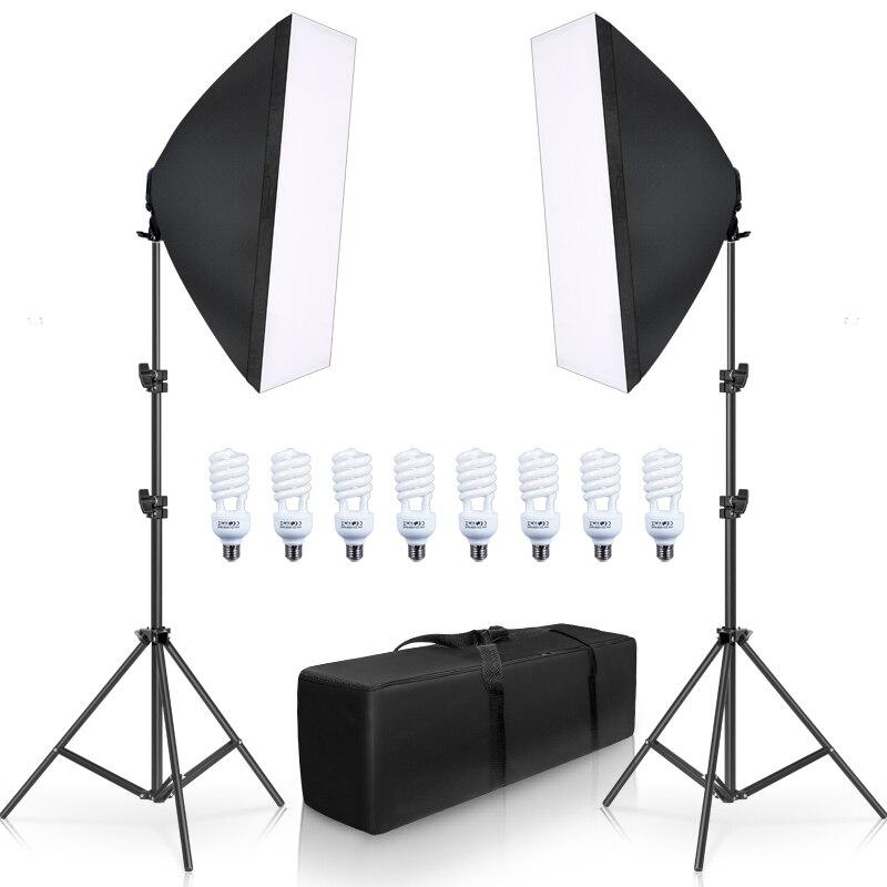 Photographie Softbox Lightbox Kit 8 pièces E27 LED Photo Studio caméra équipement d'éclairage 2 Softbox 2 support de lumière avec sac de transport