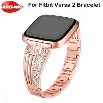 Rhinestone Bling Bands For Fitbit Versa 2 Watch Stainless Steel Metal Band for fitbit versa 2 Smart Watch Watchband Bracelet