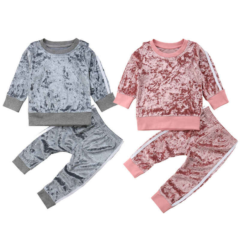 2019 Gugur Musim Dingin Beludru Anak-anak Bayi Gadis Pakaian Set Solid Lengan Panjang T-Shirt Tops + Celana 2 Pcs Pakaian Set 1-5T Dropshipping