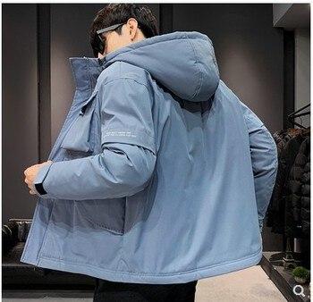 2019 new winter men's jacket fashion multi-pocket tooling mosaic cotton hooded thick men's loose cotton jacket shirt men