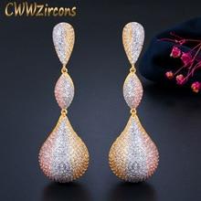 CWWZircons Luxury Water Drop Balls Long Dangle Earrings for Women Wedding Micro CZ Zircon Dubai Indian 3 Tone Gold Jewelry CZ670