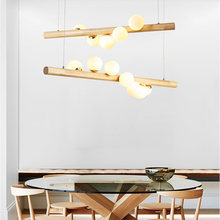 Simple Restaurant Shop Pendent Lights Creative G9 LED Glass Hanging Lighting Nordic Style Pendent Lamp Wood Glass Dining Room(China)