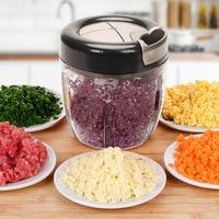 Functional Food Chopper Manual Hand Pull Veggie Blender/Mincer/Meat Grinder Chop Fruits Vegetables Nuts Onions for Salad 5 knife