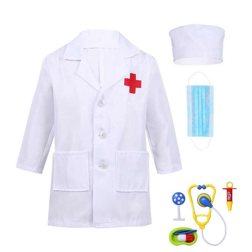 Regalo di Compleanno dei bambini Uniforme Medica Ospedale Per Bambini Ragazzi Medico Ragazze Infermiere Giacca Abito di Cosplay Costumi di Carnevale di Halloween