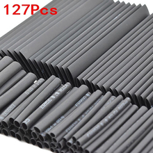 127 шт черный клей всепогодный термоусадочные трубки, электрические кабельные наконечники в наборе для подключения электрического провода ...