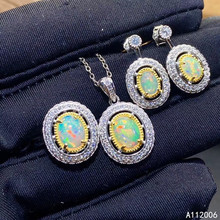 KJJEAXCMY fine jewelry 925 sterling silver natural opal earrings ring pendant necklace luxury ladies suit support testing opal hamsa choker necklace fatima hand pendant necklace natural opal stone israel jewish jewelry 925 sterling silver jewelry