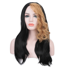 MANWEI Long Wavy Ombre Blonde Wig Platinum Blonde Synthetic Wigs