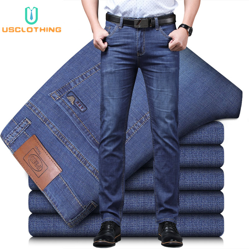 New Men Jeans Business Mens Casual Straight Slim Fit Blue Jeans Stretch Denim Pants Trousers Classic Skinny Jeans Men EF45NB