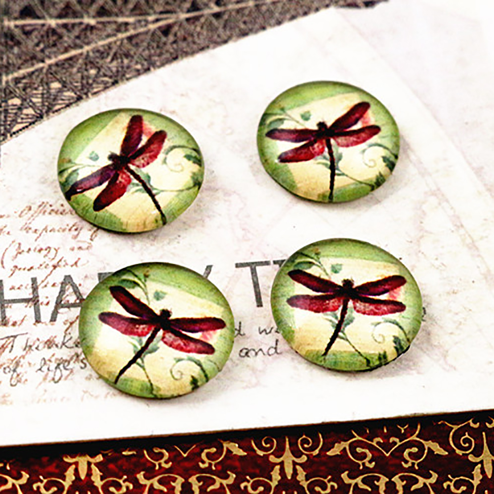 Hot Sale 20pcs 12mm Handmade Photo Glass Cabochons (Dragonfly)  (E2-33)