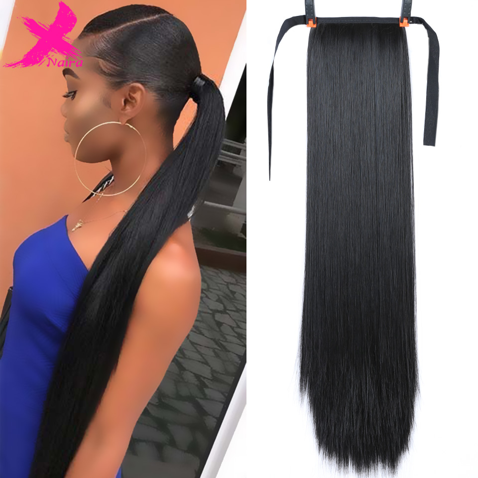 Xnaira Drawstring Ponytail Bun-Piece Hair-Extensions Blonde Fake-Hair Afro Clip-Ins Black title=