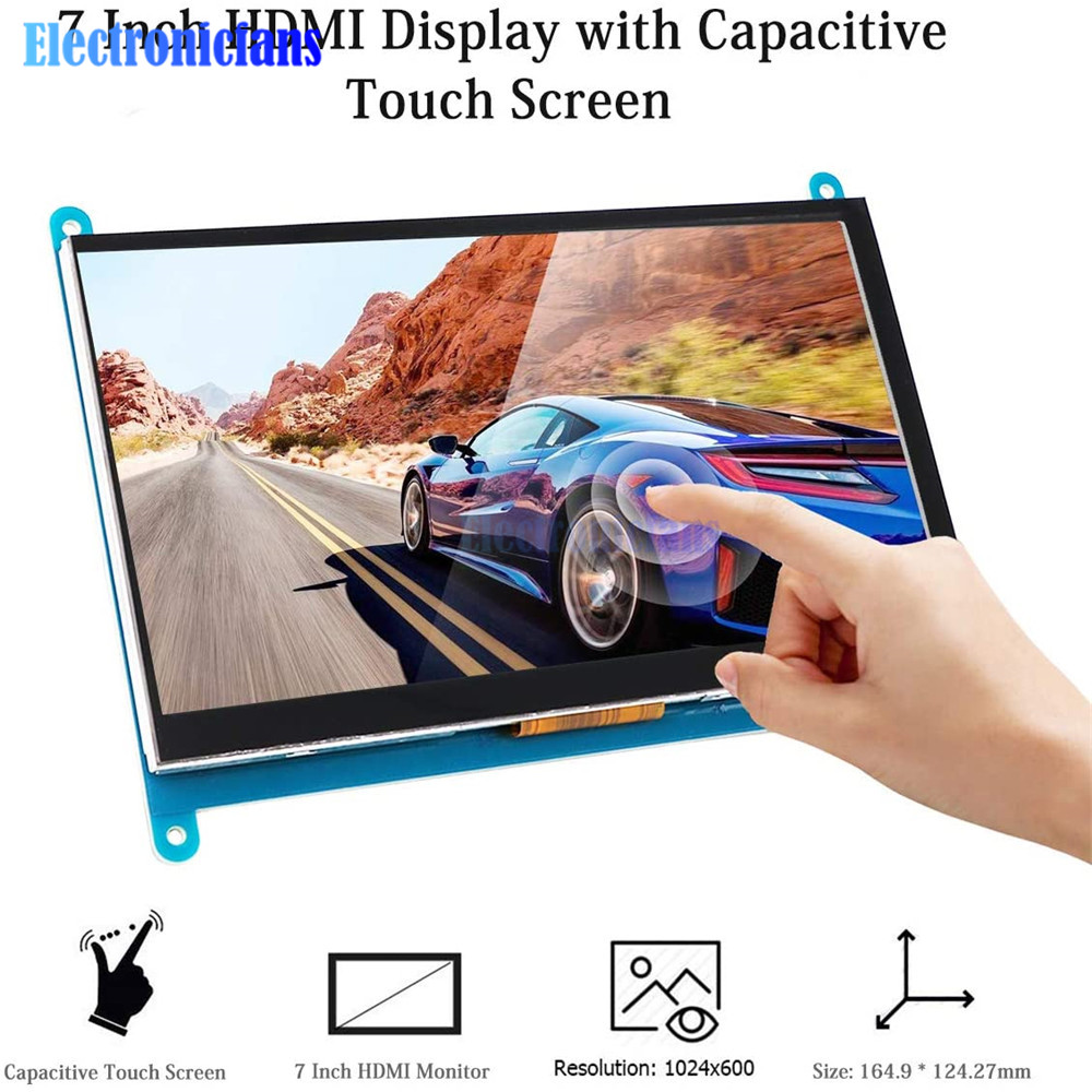 <font><b>7</b></font> <font><b>inch</b></font> <font><b>LCD</b></font> Display HDMI Touch Screen 1024x600 Resolution IPS Capacitive Touch Screen Support Various Systems for Raspberry Pi 3 image