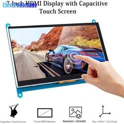 Tela tátil hdmi de 7 polegadas com tela touch, 1024x600 resolução ips capacitivo, touch screen, suporte a vários sistemas para raspberry pi 3,