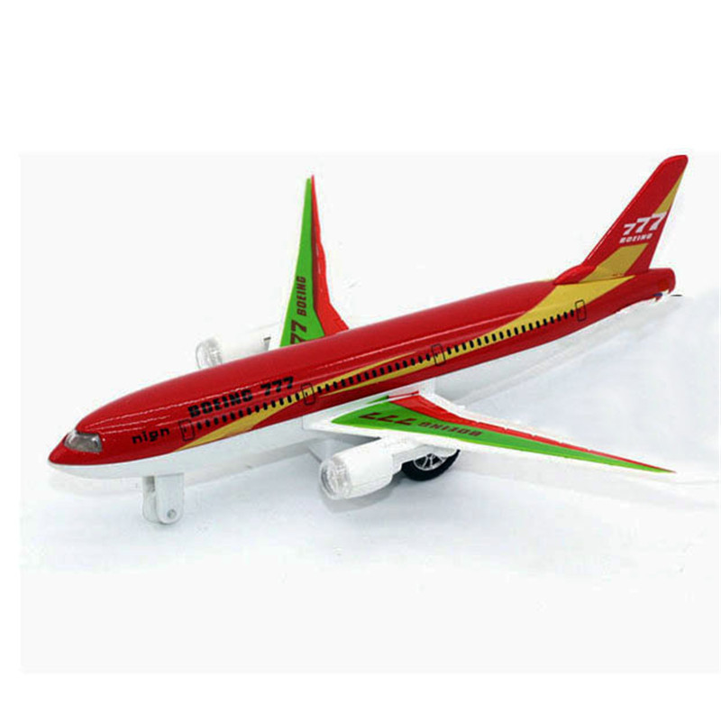 1: 200 Mini Cartoon Metal Airplane Model Pull Back Alloy Die-casting Simulation Boeing 777 Passenger Aircraft Toy Gift image