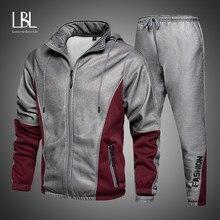 2021 Mannen Hip Hop Trainingspak Heren Lente Kleding 2 Stuks Sets Man Streetwear Rits Jacets En Harembroek + sweatshirt Past