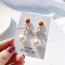 Korean version sweet bowknot minority pearl earring 925 pin earrings Japanese Korean style earring web celebrity the same style
