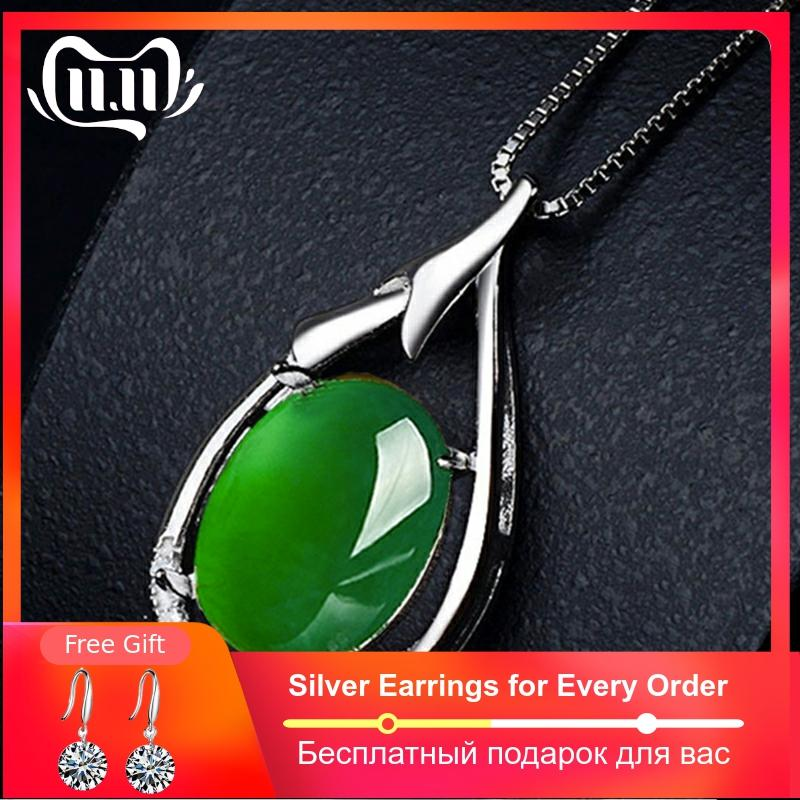 NOT FAKE S925 Sterling Silver Emerald Jade Pedants Artisan Myanmar Antique For Necklace  Chalcedony Green