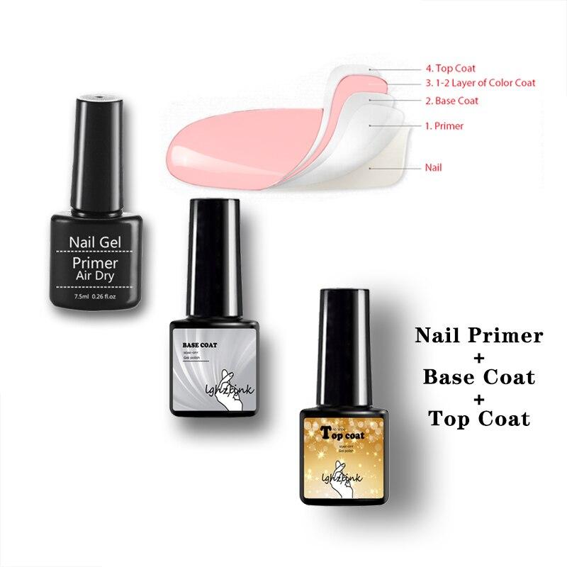 Nail Primer Top Coat And&BaseCoat For Nail Polish Semi Permanant UV LED Lamp Fast Air Dry Soak Off Gel Polish Lacquer Nail Art