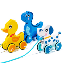 Baby Pull Rope Walking Toy Creative Cute Cartoon Hippo Pig Dog Elephant Fawn Drag Car Animal Pull Rope Toy Car Children Toy