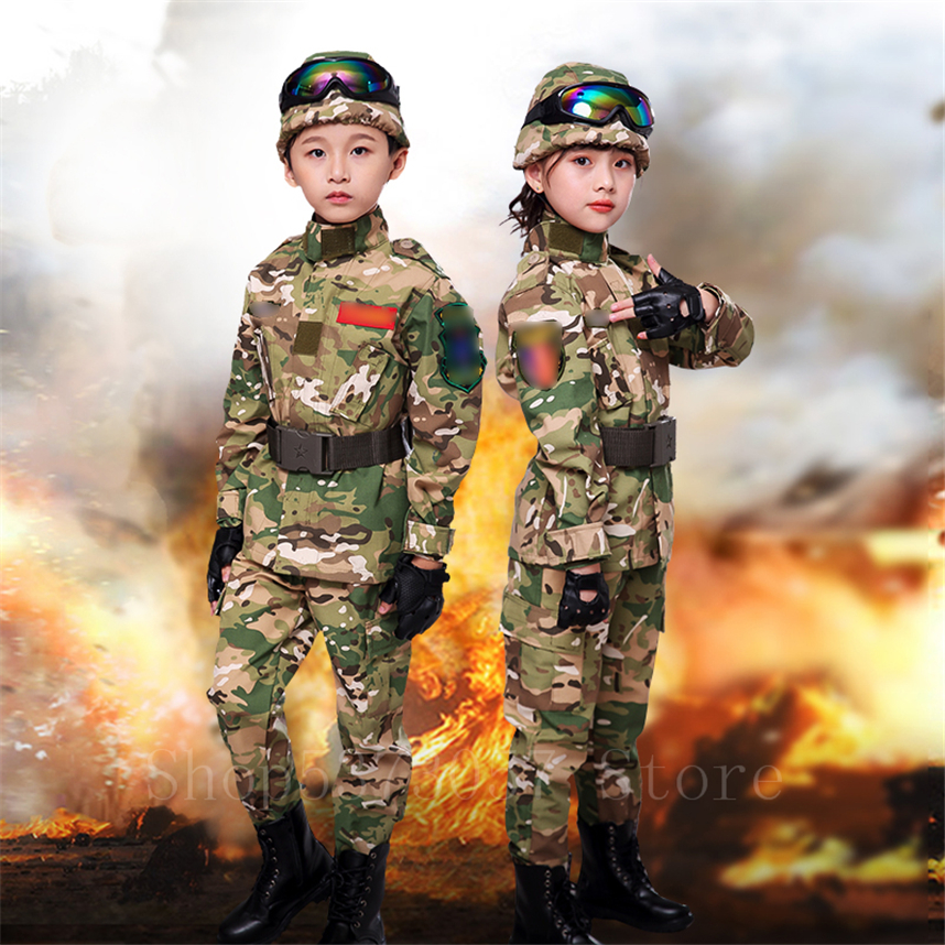 Children Military Tactical Unifroms Outdoor Combat CP Camouflage Army Suit Kids Security Airsoft Militar Training Clothing Set