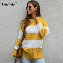 Laughido Autumn Winter Long Sleeve Knitted T Shirts Women 2019 Casual O Neck Sexy Pullover Tops Loose Striped Tee Female
