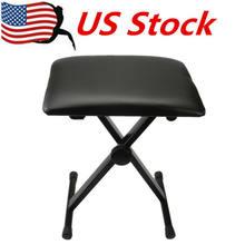 Verstelbare Opvouwbare Piano Toetsenbord Bench Lederen Gewatteerde Kruk X Seat Stoel Zwart