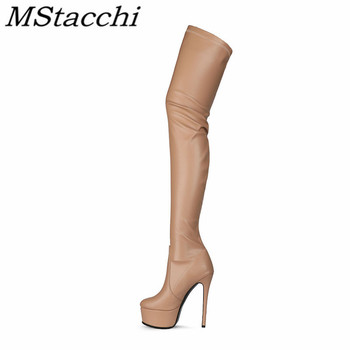 Buty damskie zakolanówki czerwone różowe czarne luksusowe buty na platformie dla kobiet buty na wysokim obcasie damskie buty damskie botas femininas 2021 tanie i dobre opinie MStacchi Szpilki podstawowe CN (pochodzenie) Na wiosnę jesień Za kolana MATURE zipper Stałe C187 Adult Krótki plusz