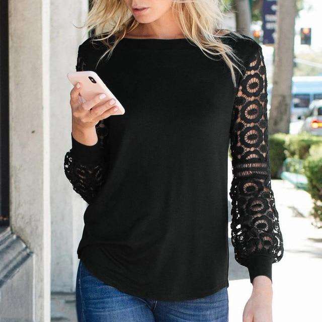 Graphic T Shirts Women T shirts Lace Patchwork O Neck Long Sleeve Shirts Tops Women T-Shirts