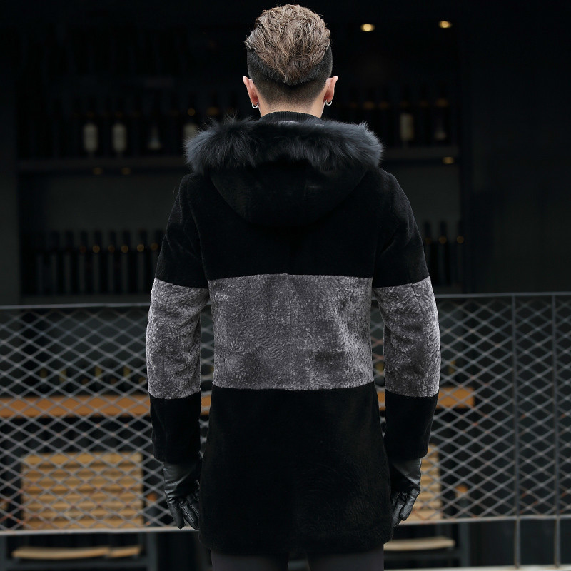Real Fur Coat Men Sheep Shearling Men's Winter Jacket Leather Hooded Fox Fur Collar Windbreaker Long Wool Coat8725 KJ814