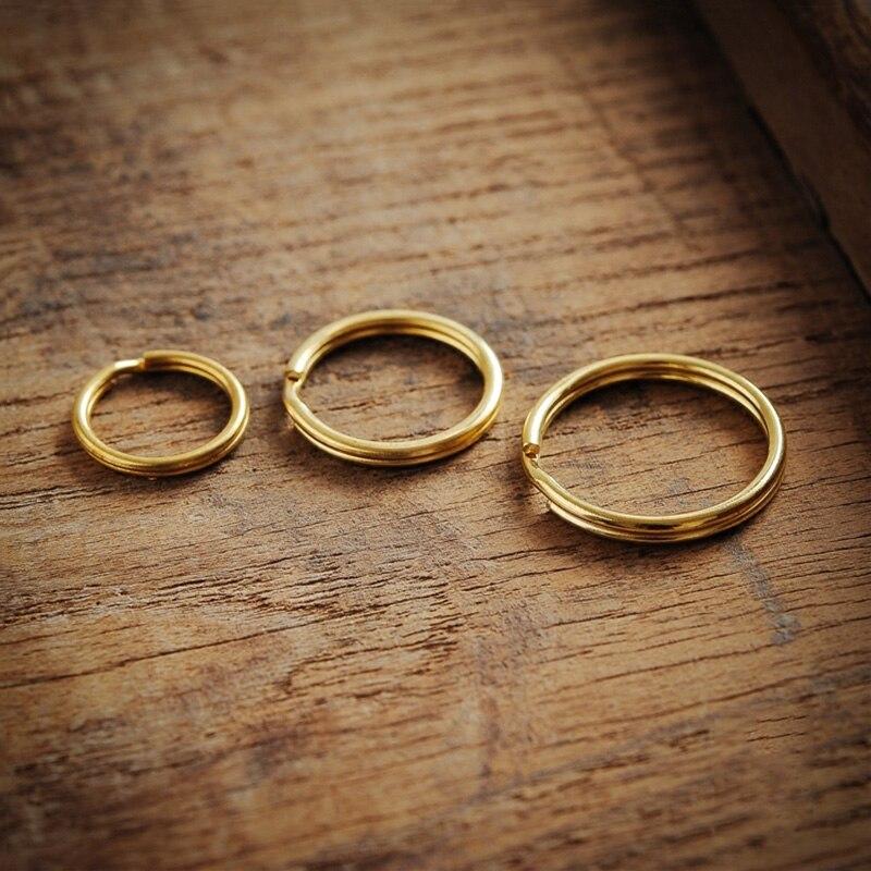 brass round key rings (6)