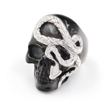 FDLK   Vintage Black Silver Skull Ring For Men Cool Hiphop Punk Gothic Skull Snake Rings Jewelry soqmo solid 925 silver skull pendant for biker man cool snake budda sculpture mens vintage gothic punk pendants jewelry sqm023