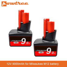 Аккумулятор для электроинструментов Milwaukee M12, 12 В, 9000 мАч, литий-ионная аккумуляторная батарея XC 48-11-2440 48-11-2402 48-11-2411 48-11-2401 C12
