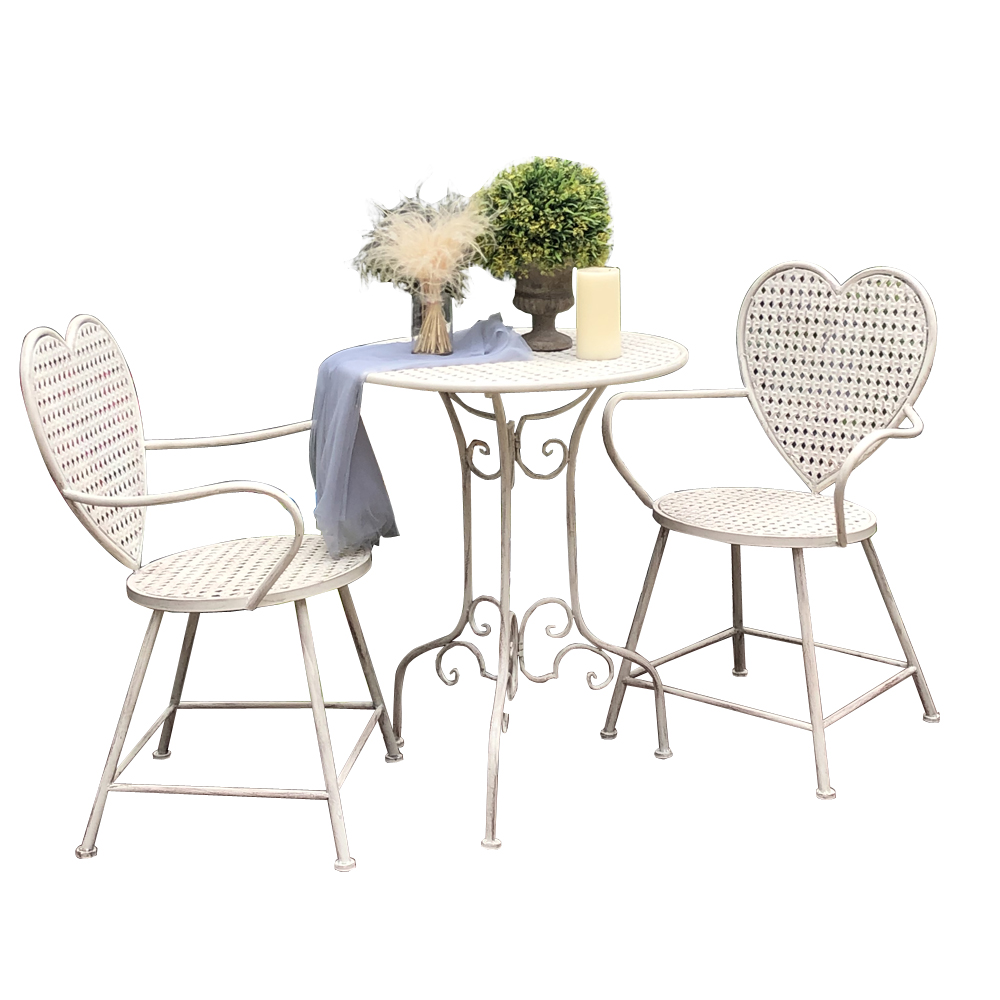 Outdoor Garden Table And Chair Three-piece Combination Wrought Iron Old Art Leisure Home Balcony Heart-shaped