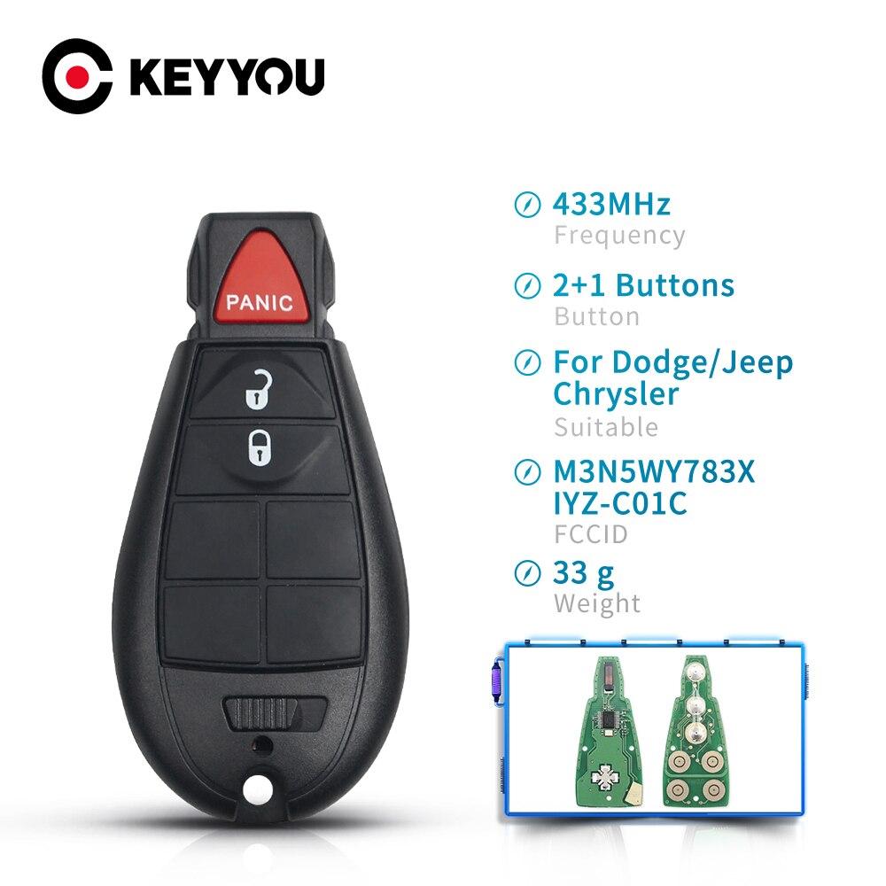 Дистанционный смарт-ключ KEYYOU с 3 кнопками, БЕСКЛЮЧЕВОЙ Брелок 433 МГц для Dodge Grand Caravan Journey 2008 2009 2010 2011 2012 2013 M3N5WY783X