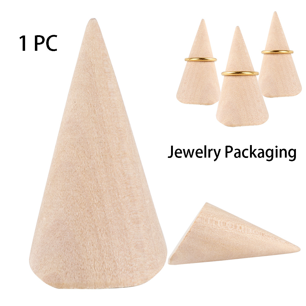 New Creative Lacquered Wood Ring Jewellery Wooden Frame Bracket Ring Seat Ring Display Frame Cone