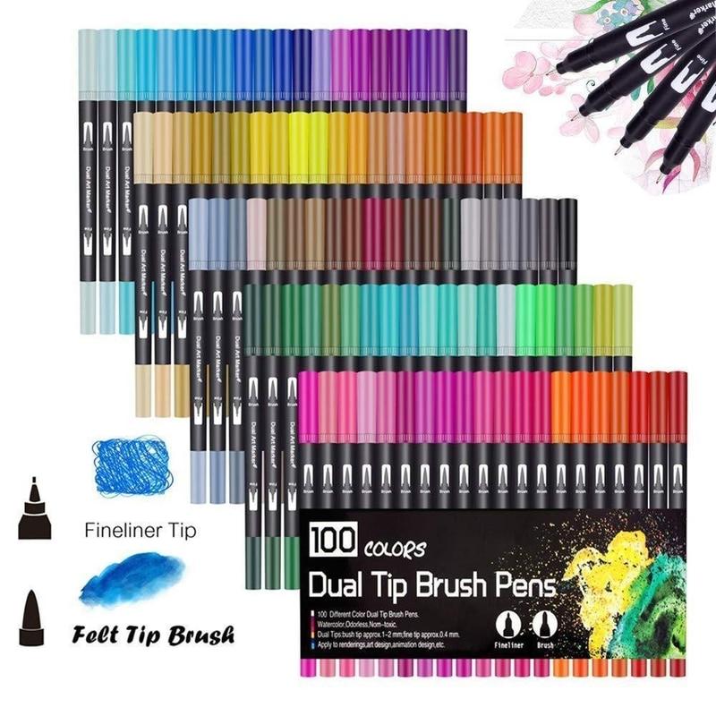 100PCS Colors Dual Tip Brush Pens Art Marker Fine Liner Brush Drawing Painting Watercolor Pens For Coloring Manga Calligraphy