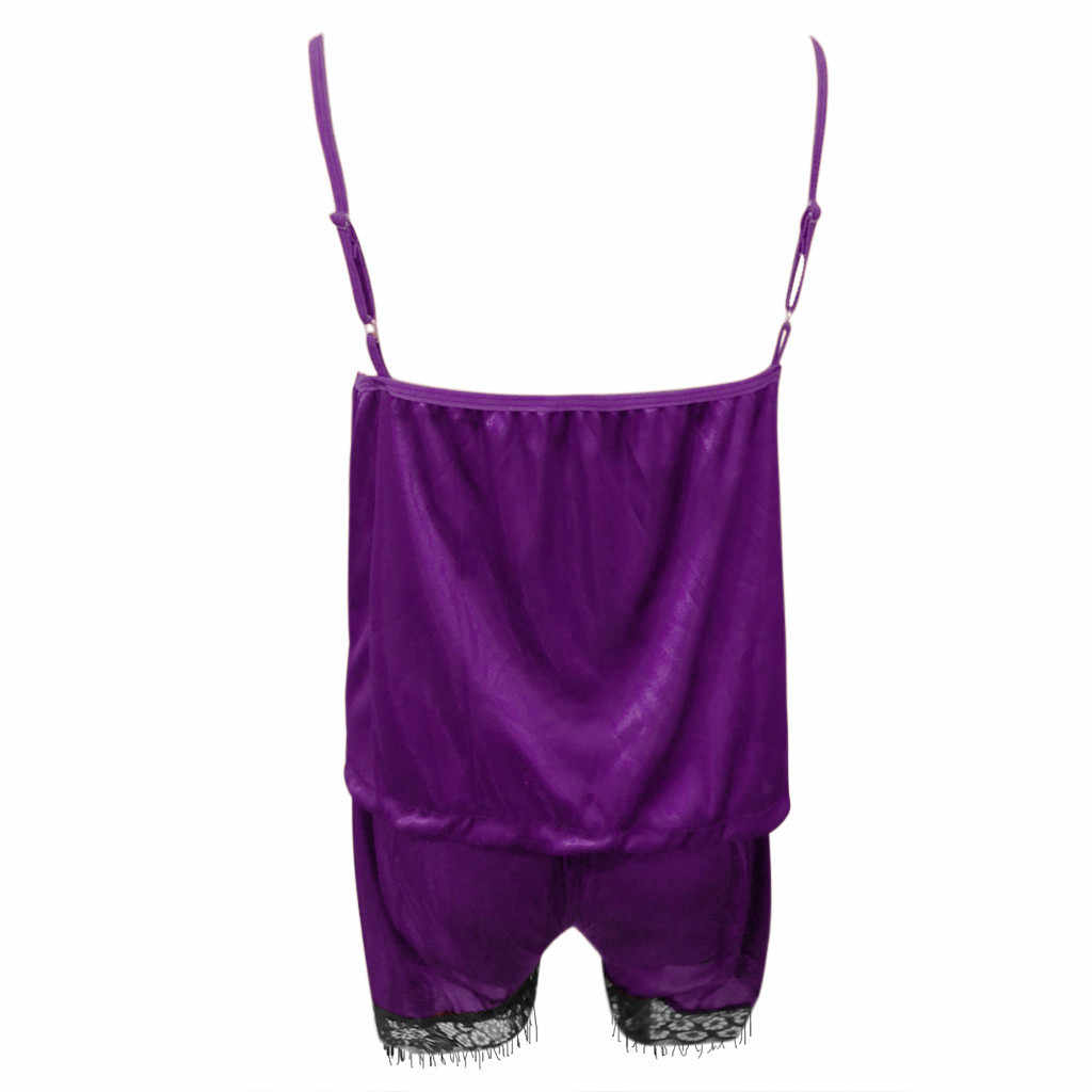 אופנה סקסית נשים הלבשת שרוולים רצועת Nightwear תחרה טלאים לקצץ סאטן Cami למעלה פיג 'מה סטי סלאש צוואר בית ללבוש