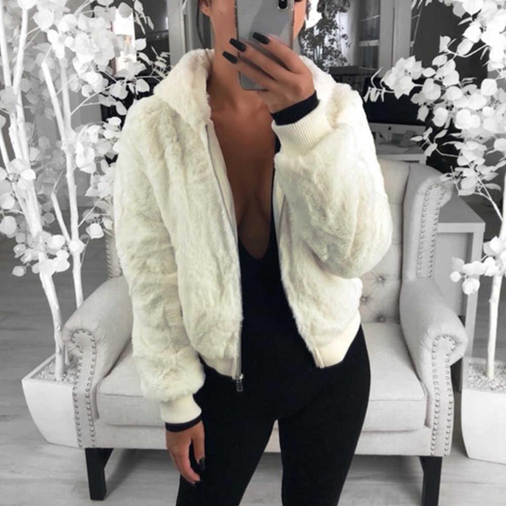 Jodimitty 2020 Del Nuovo Faux Fur Donne Cappotto con Cappuccio di Alta Moda Della Vita Sottile Nero Rosso Rosa Faux Giacca di Pelliccia Falso cappotti di Pelliccia di Coniglio