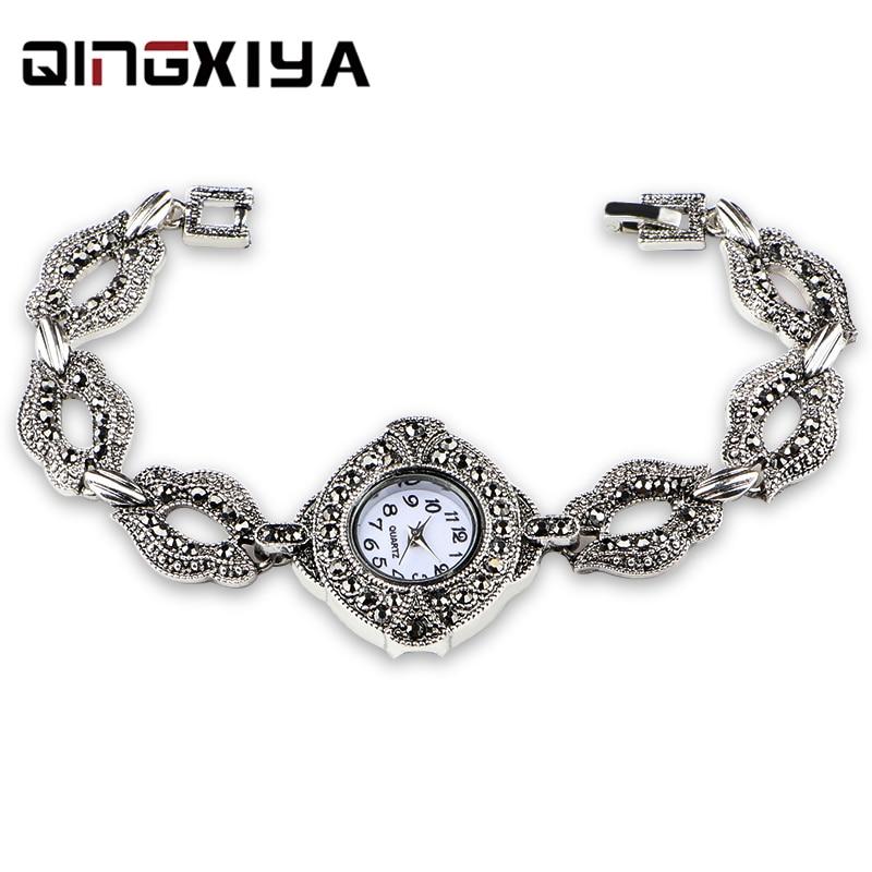 Antique Silver Bracelet Women Watch QINGXIYA Top Brand Luxury Lady Quartz Wrist Watch Female Clock For Dropship Relogio Feminino